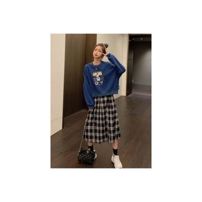 【送料無料】セット 年 女 韓国風 ミニ丈 プリント 長袖セーター ハイウエス | 346770_A63834-7985825