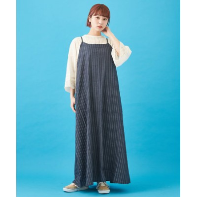 WEB限定 細ストライプ & 太ストライプ × 別布 裾フレアー キャミソールワンピース