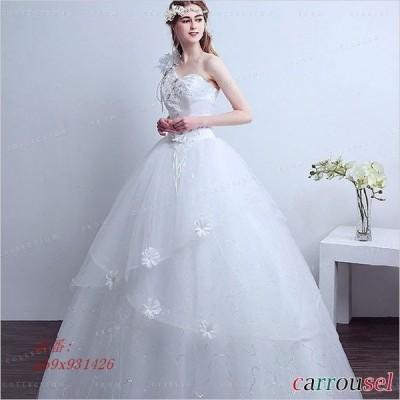 ウェディングドレス 花嫁ドレス 結婚式 花飾り ノースリーブ ワンピース