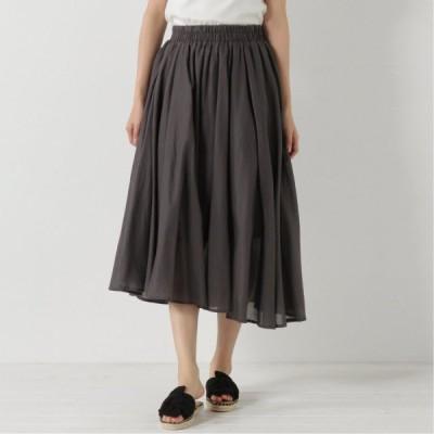 コットンボイルのフレアスカート チャコール M L LL