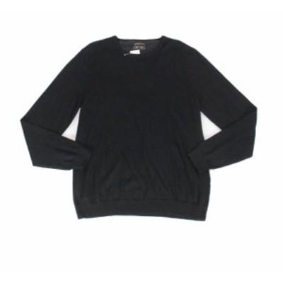 ファッション トップス Tasso Elba Mens Sweater Black Size Large L Pullover Crewneck Wool