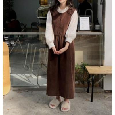 韓国 ファッション レディース ジャンパースカート ワンピース ロング コーデュロイ 大きいサイズ ゆったり カジュアル 大人可愛い 秋冬
