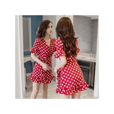 ドット パーティードレス フレアスカート ミニ丈 レディース ワンピース お呼ばれドレス kh-0742