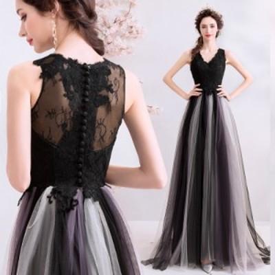 超人気 黒 レース ロングドレス パーティドレス ワンピ チュールスカート ノースリーブ ブラック 大きいサイズあり 二次会 発表会 D190
