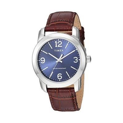 Timex Men's TW2R86800 Classic 39mm Brown/Silver-Tone/Blue Croco Pattern Leather Strap Watch並行輸入品