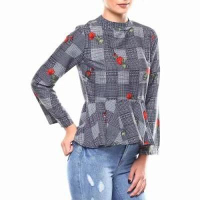 ファッションラボ ブラウス・シャツ l/s plaid floral mock neck peplum blouse Blue