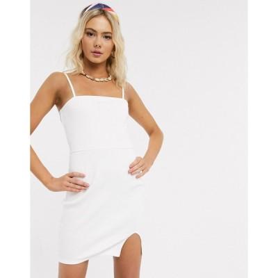 エイソス ミディドレス レディース ASOS DESIGN square neck rib mini dress with split in white エイソス ASOS ホワイト 白