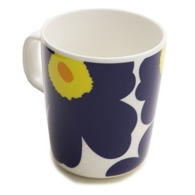 Marimekko マグカップ UNIKKO MUG 063431 レディース WHITE/DARK BLUE/YELLOW 002 マリメッコ