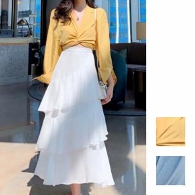 韓国 ファッション レディース セットアップ 夏 春 カジュアル naloH438  ツイスト シャツ シアー アシンメトリー シンプル コーデ 定番
