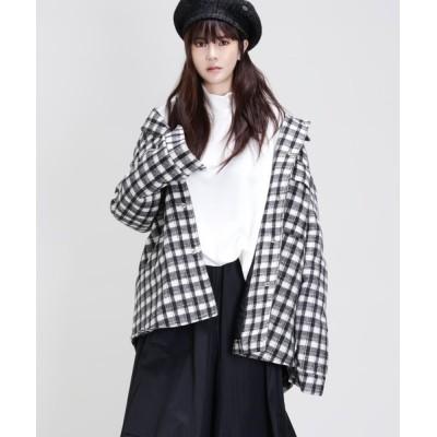 minsobi / チェック柄 厚手ウールシャツジャケット WOMEN ジャケット/アウター > ナイロンジャケット