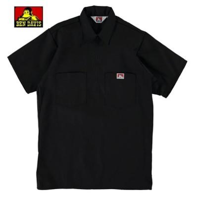 BEN DAVIS ベンデイビス ハーフジップ ワークシャツ 半袖 USA製 BLACK