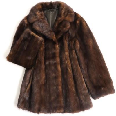 毛並み極美品▼MINK ミンク 裏地花柄刺繡入り 本毛皮コート ブラウン 毛質艶やか・柔らか◎