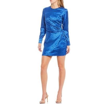 アドレイン ラエ レディース ワンピース トップス Long Sleeve Tonal Animal Print Sateen Jacquard Mini Sheath Dress Cobalt