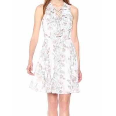 kensie ケンジー ファッション ドレス Kensie NEW White Womens Size 8 Floral Print Ruffle Trim Sheath Dress