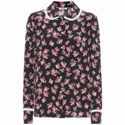 ミュウミュウ Miu Miu レディース ブラウス・シャツ トップス Floral silk shirt Nero/rosa