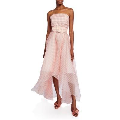 ショシャーナ レディース ワンピース トップス Dianora Checkered Strapless High-Low Belted Gown
