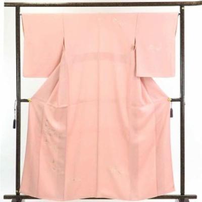 【中古】リサイクル着物 訪問着 / 正絹ピンク地花柄刺繍袷付下訪問着着物 / レディース【裄Lサイズ】