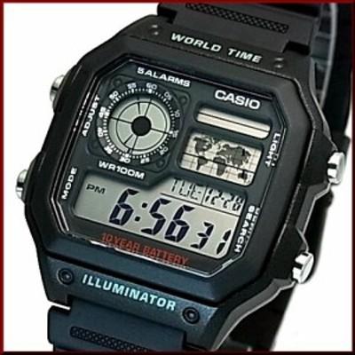 CASIO【カシオ/スタンダード】デジタル 世界地図表示ワールドタイム メンズ腕時計 ブラックラバーベルト 海外モデル AE-1200WH-1A(送料