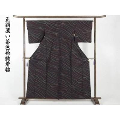 【中古】リサイクル紬 / 正絹濃い茶色袷紬着物 /レディース(古着 中古 紬 リサイクル品)