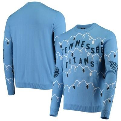 """メンズ セーター """"Tennessee Titans"""" FOCO Light-Up Ugly Sweater - Light Blue"""
