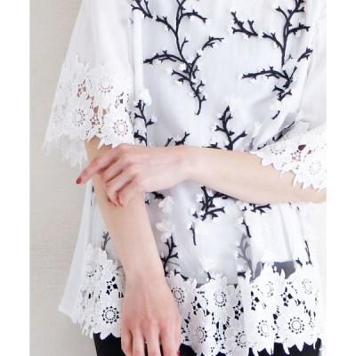 シャツ ブラウス 花刺繍とレース裾のフレア袖トップス