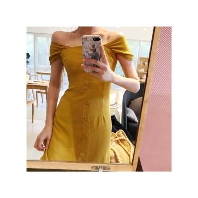ボタン オフショル パーティードレス レディース ワンピース お呼ばれドレス kh-0957