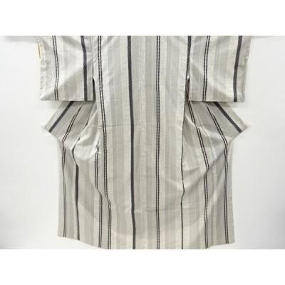 リサイクル 縞に花・幾何学模様手織り紬着物