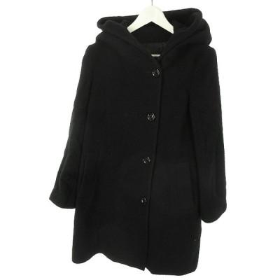 【中古】アンタイトル UNTITLED ウール混 フード付き コート M ブラック 黒 長袖 上着 アウター レディース 【ベクトル 古着】