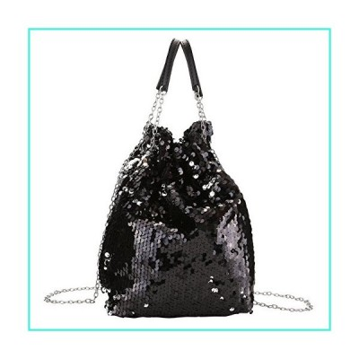 【新品】Ayliss Women Drawstring Bucket Bag Reversible Mermaid Sequin Chain Shoulder Bag Crossbody Handbags (Black)(並行輸入品)