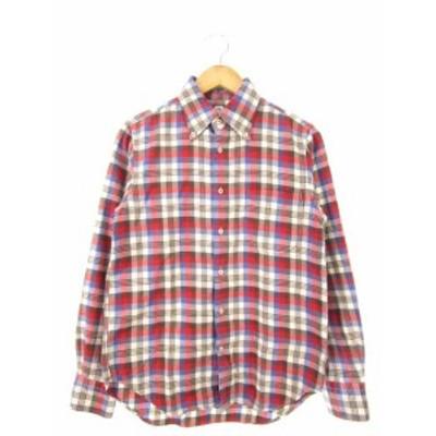 【中古】カトー KATO` ボタンダウンシャツ 長袖 チェック トップス ブラウン S メンズ