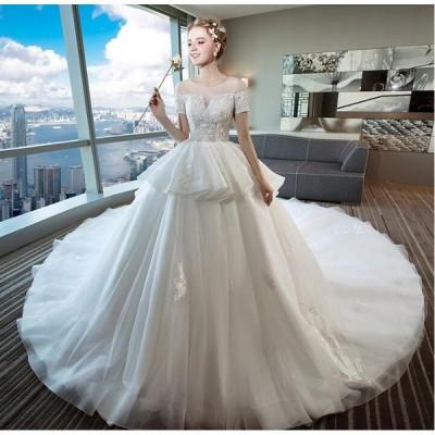ロングトレーン ウェディングドレス 高級ウエディングドレス格安.激安お花嫁ドレス結婚式 二次会 パーディ 大きいサイズ 結婚式花嫁
