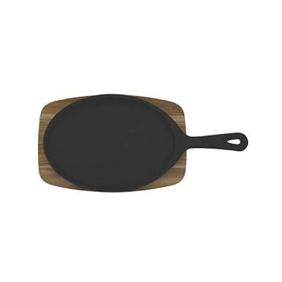 トラモンティーナ ステーキ皿 鉄板 & 木製ボード シュラスコ チーク 28cm×19cm 楕円形 天然木 ブラジル製 10239/685 TRAMO