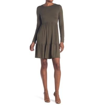 アールディスタイル レディース ワンピース トップス Crew Neck Long Sleeve Tiered Dress OLIVE