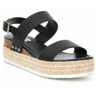スティーブ マデン レディース サンダル シューズ Catia Espadrille Flatform Sandals Black Leather