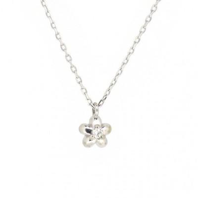 花 ゴールドネックレス(チェーン付きペンダント) 花びら フラワー 粒 ストーン 18金 ホワイトゴールド ダイヤモンド