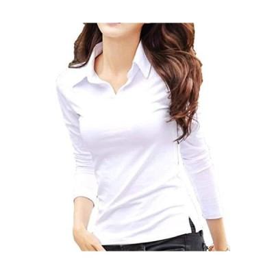 [ルナー ベリー] Vネック 襟付き カットソー 半袖 長袖 スリム Tシャツ レディース トップス 1211 (L ホワイト 長袖) tシャツ 白