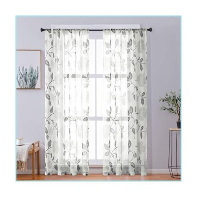 新品CUTEWIND Luxury Retro Linen Texture Flower Leaves Print Semi Sheer Curtains Rod Pocket Living Room Basement Bedroom Window Floral Prin
