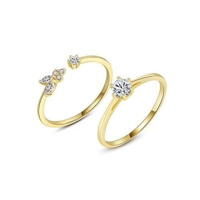 VIKI LYNN 18K Gold Plated Stacking Stackable Ring Set Cubic Zirconia Weddin