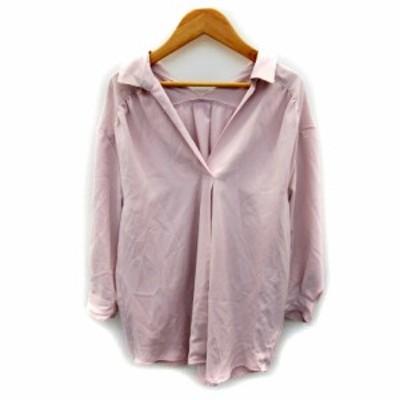 【中古】アプワイザーリッシェ ブラウス シャツ 七分袖 スキッパーカラー 無地 リボン 2 薄ピンク /SY25 レディース