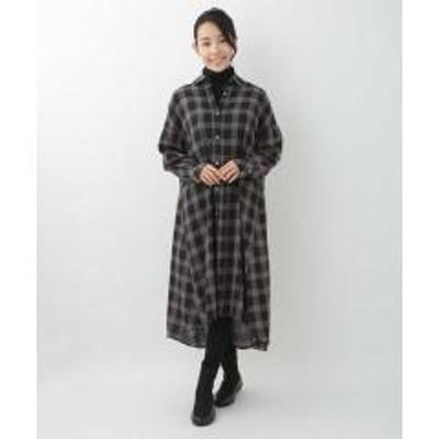 HIROKO BIS(ヒロコビス)チェックシャツワンピース【お取り寄せ商品】
