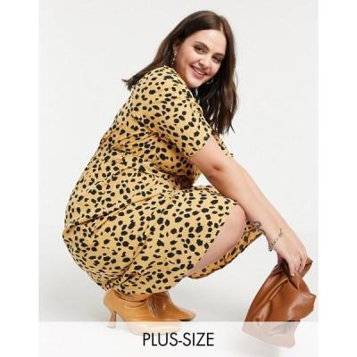 ウェンズデーガール ドレス 大きいサイズ レディース Wednesday's Girl Curve belted midi dress in dalmatian spot エイソス ASOS ベージュ