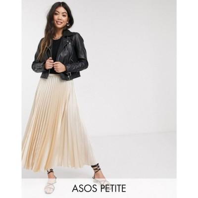 エイソス ASOS Petite レディース ひざ丈スカート スカート ASOS DESIGN Petite satin pleated midi skirt in bone ライトベージュ