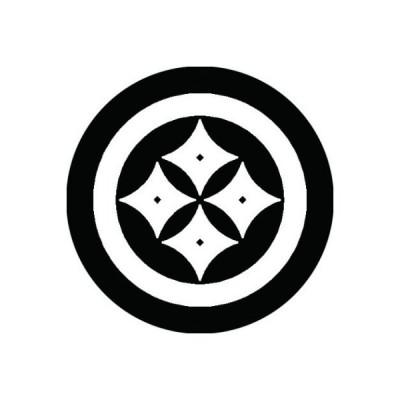 家紋シール 白紋黒地 丸に反り四つ目 布タイプ 直径40mm 6枚セット NS4-0739W