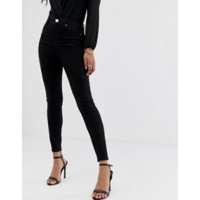 エイソス レディース デニムパンツ ボトムス ASOS DESIGN Ridley high waist skinny jeans in clean black Black
