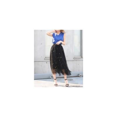 ANAP 星刺繍チュールスカート ブラック