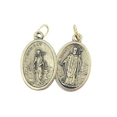 Silver Toned Base Saint Bridget with St Patrick Medal, 1 Inch, Set of