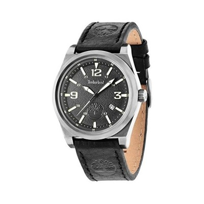 Timberland Men's Quartz Watch with Black Dial Analogue Display and Black Leather Strap TBL.14641JSU/02 並行輸入品