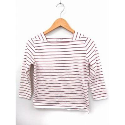 【中古】エニィスィス エニシス anySiS Tシャツ カットソー ボーダー スクエアネック 七分袖 綿 2 ホワイト 白 赤 /FT