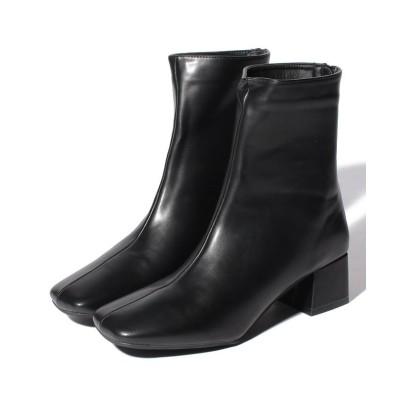 【シュークロ】 スクエアトゥ チャンキーヒール 《約5cm》ブーツ 1865 レディース ブラックPU S Shoes in Closet