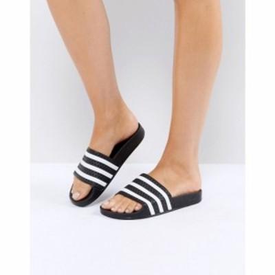 アディダス adidas Originals レディース サンダル・ミュール シューズ・靴 adilette sliders in black and white ホワイト